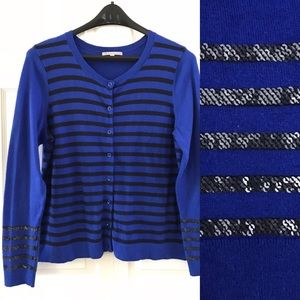 Gap Women's XL Sequin Stripe Cardigan Sweater Blue
